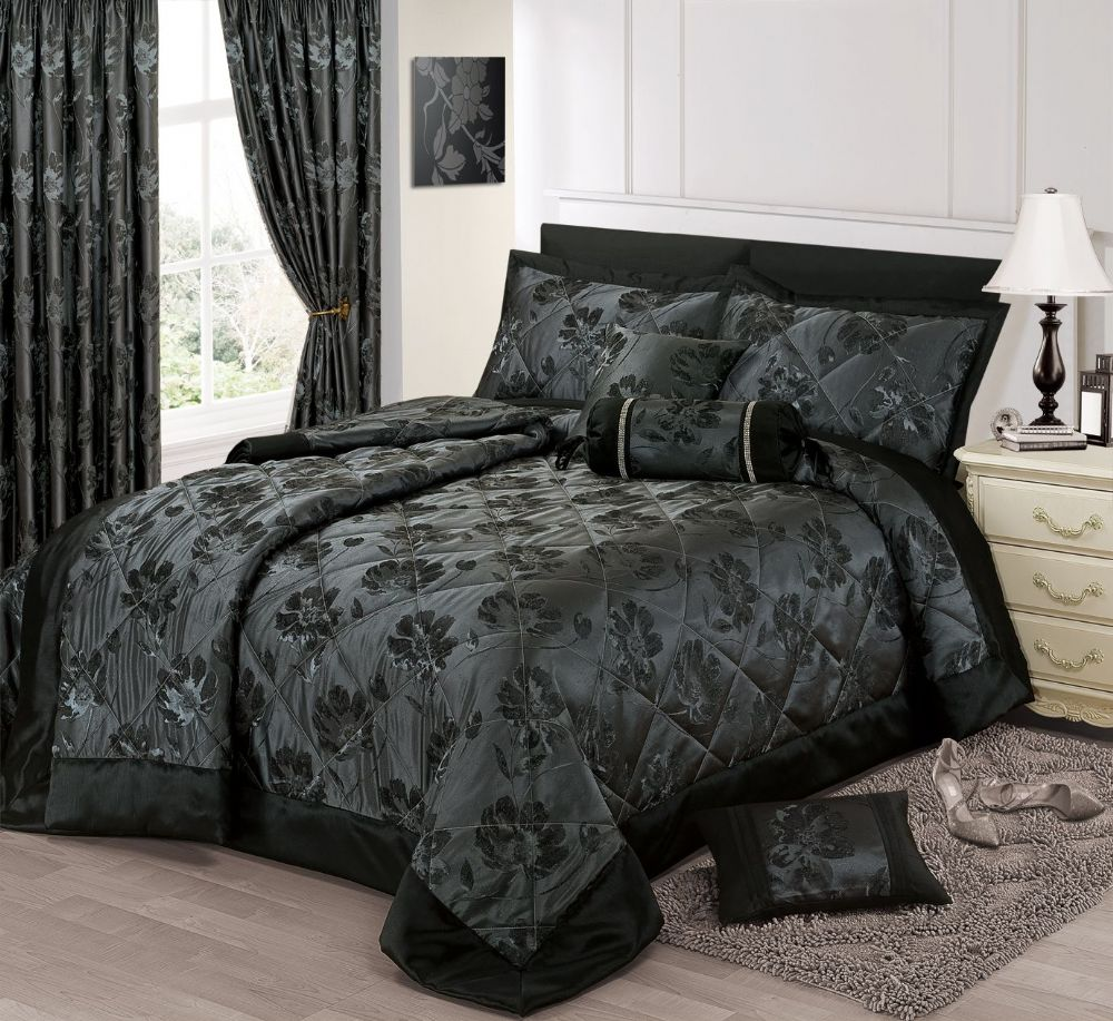 Black Silver Colour Stylish Floral Jacquard Luxury